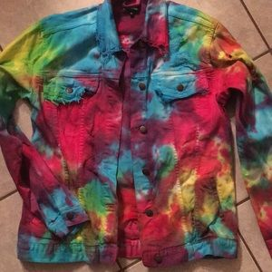 Pretty Little Thing Rainbow tie dye denim jacket